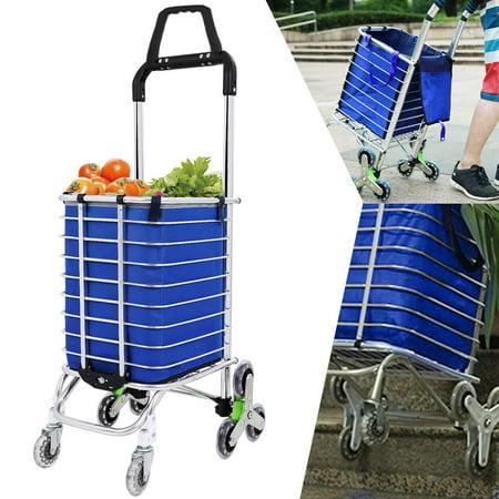 8 Wheels Shopping Cart Aluminum Oxford Cloth Bag Folding Stairs Double Handle Shopping Cart Triangular HFON