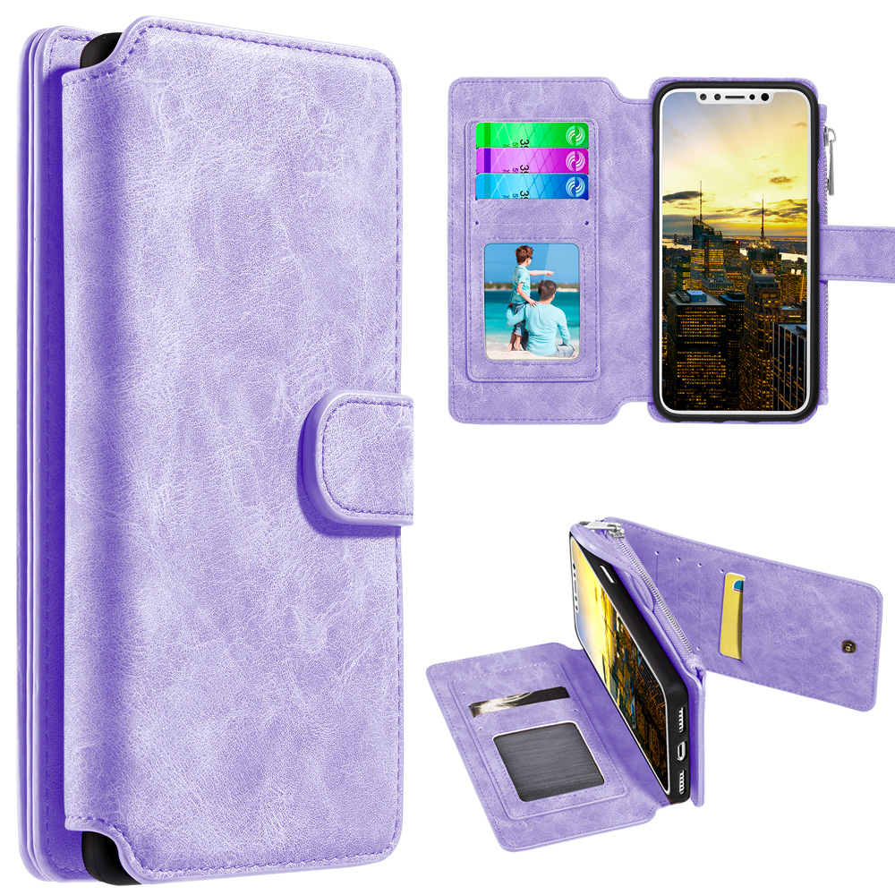 iPhone X Case, Trendy Leather Flip Wallet Detachable Back Cover and Card Slot - Lavender for iPhone X, Bright Colors, Protective Case, Flap Magnet Function