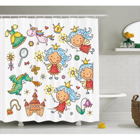 Fairy Shower Curtain, Cartoon Princess Pattern with Magic Wand Dragon Dress Unicorn and Crown Little Child, Fabric Bathroom Set with Hooks, 69W X 70L Inches, Multicolor, by Ambesonne