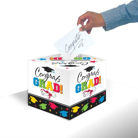 Colorful Grad Greeting Card Holder Box (Each) - Party Supplies - Graduation Hat Card Box