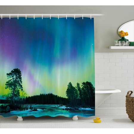 Northern Lights Shower Curtain  Sky Over Lake Surrounded Forest Woods Hemisphere Print  Fabric Bathroom Set With Hooks  69W X 84L Inches Extra Long  Violet Blue Lime Green Purple  By Ambesonne
