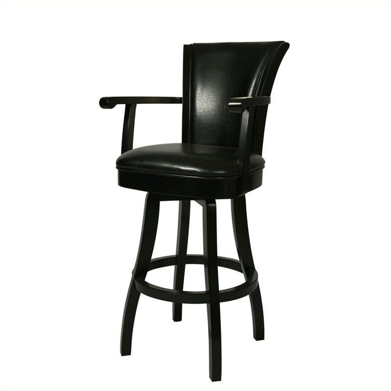 "Pastel Furniture Glenwood 30"" Swivel Arm Bar Stool in Black by Pastel Furniture"