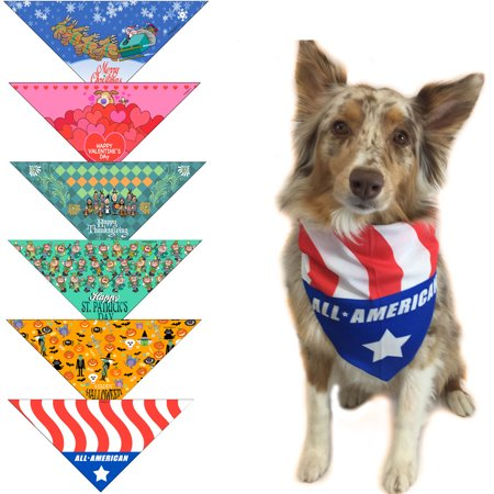 Holiday Dog Bandanas - Small Dogs - Christmas, Halloween, Thanksgiving, Valentines Day, St. Patricks Day & Patriotic