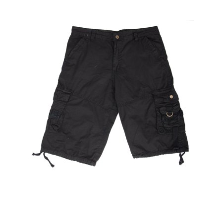 SAYFUT Men's Vintage Paratrooper Style Cotton Cargo Short  Pockets Baggy Cargo Pant Black/Gray/Khaki Short Simple Pocket Pant