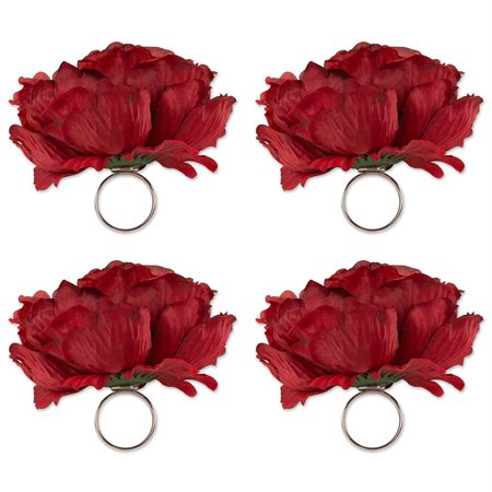DII Napkin Rings Family Dinners, Weddings, Outdoor Parties Everyday Use - Peony Flowers Deep Red, Set of 4