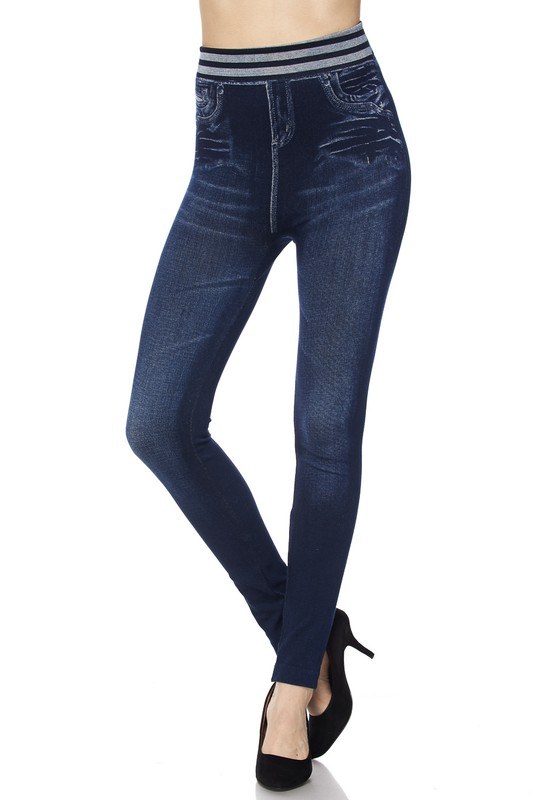 Juniors' Leggings Celebrity Washed Denim Ankle Leggings with Waist Band One Size