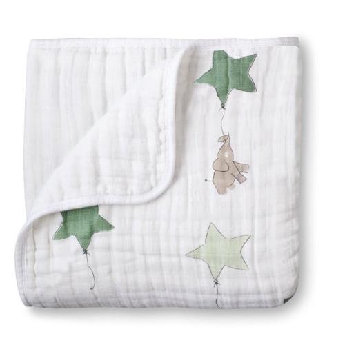 """aden + anais Up Up and Away Dream Blanket, Elephant, 47""""x47"""""""