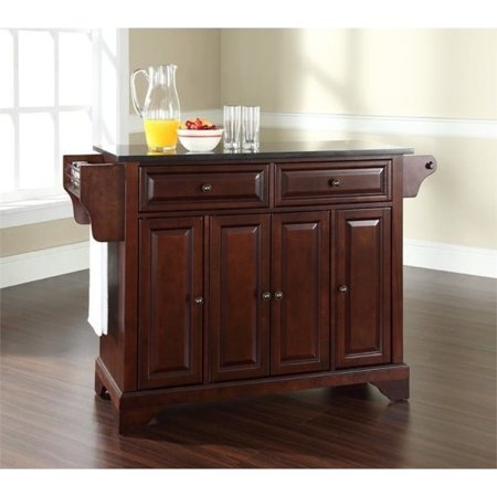 Granite Top Kitchen Island (Bowery Hill Black Granite Top Kitchen Island in Mahogany )