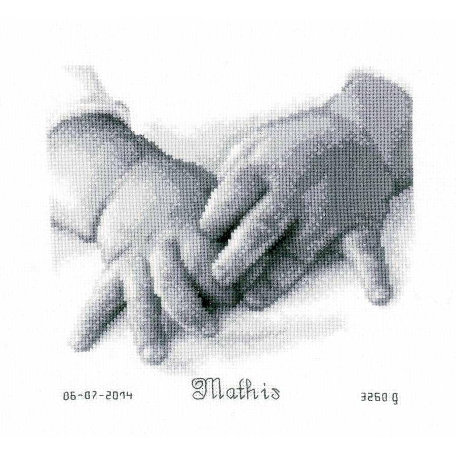 """Baby Hands Birth Record On Aida Counted Cross Stitch Kit, 8"""" x 7"""", 18 Count"""