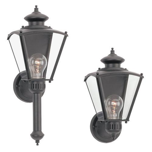Sea Gull Lighting 8504-12 New Castle Classic Outdoor 1-Light Wall Lantern Black