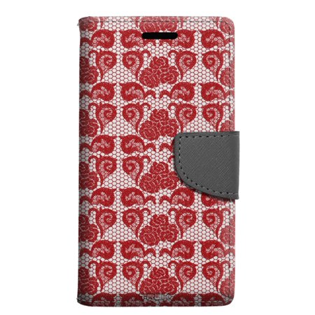 ZTE Grand X 3 Wallet Case - Stunning Hot Red Rose Swirl Lace Case