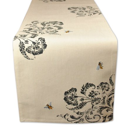 Design Imports Table Runner with Busy Bees (Ribbon Embroidery Runner)