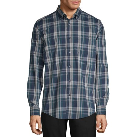 George Men's Long Sleeve Stretch Poplin Shirt, up to size (Black And White Plaid Button Up Shirt)