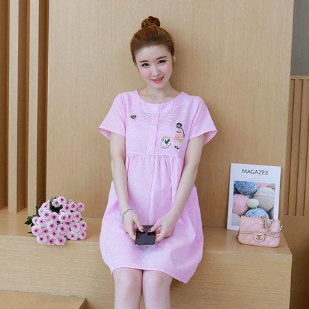 fae5baa21d Summer Maternity Nursing Dress Short Sleeve Striped Dress for Pregnant  Women - image 1 of 10 ...