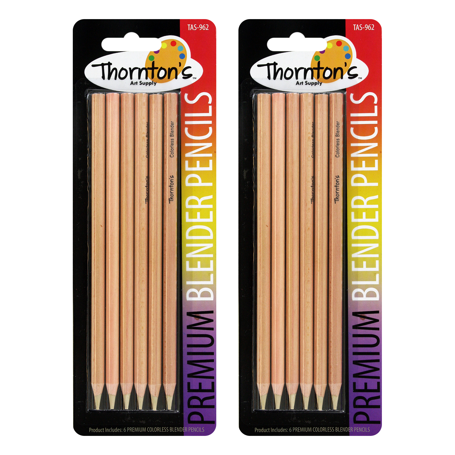 Thornton's Art Supply Premium Colorless Blender Pencils, Pack of 12