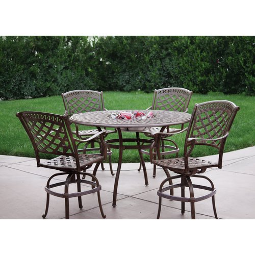 Alcott Hill Thompson 5 Piece Counter Height Bar Set with Cushions by