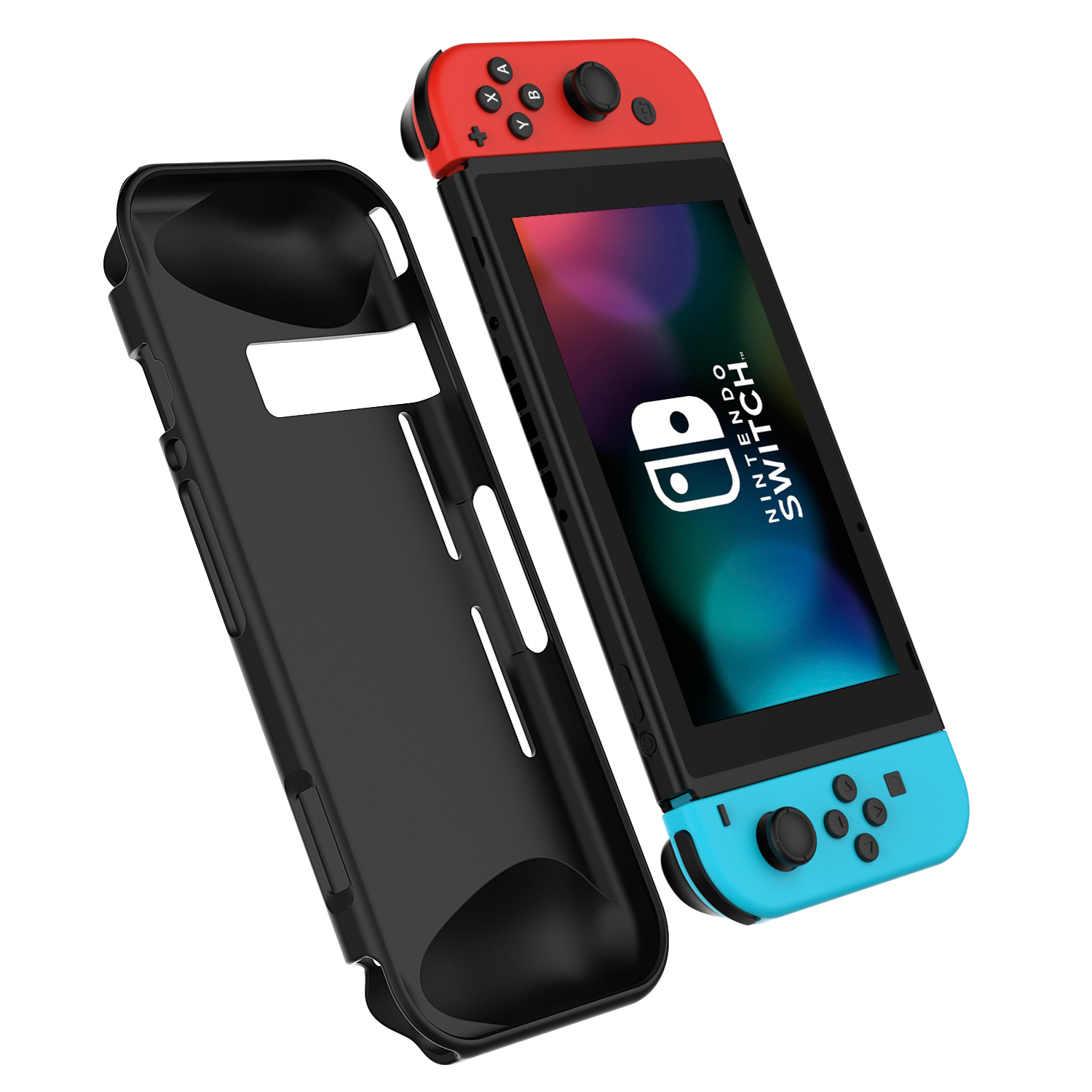 SuprJETech Nintendo Switch Protective Case Cover with Shock Absorb Trim Bumper (Black)
