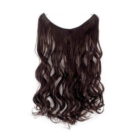 FLORATA Hidden Wire Synthetic Hairpieces 20 inchs Curly Miracle Hair Extensions Invisible Fish Line in 100g Dark Brown