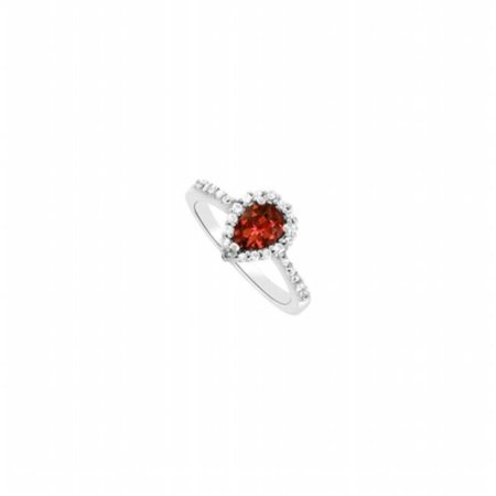Fine Jewelry Vault UBNR83498AGPR75CZGR Pear Design Garnet & CZ Halo Engagement Ring in 925 Sterling Silver - 1.50 CT TGW , 26 Stones Design Garnet Ring