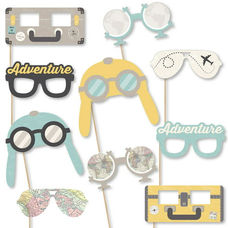 Themed Props For Sale (World Awaits Glasses & Masks - Paper Card Stock Travel Themed Party Photo Booth Props Kit - 10)