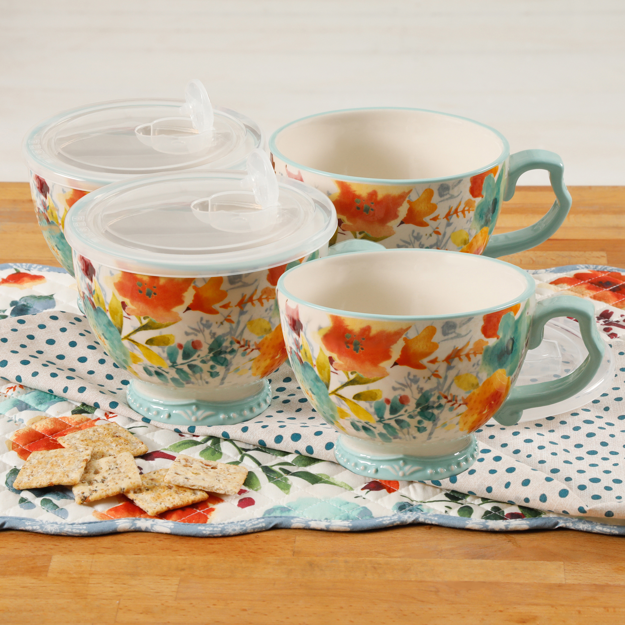 The Pioneer Woman Willow 27oz Cup with Lid, Set of 4