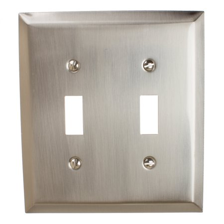 GlideRite Hardware Double Toggle Light Switch 2-Gang Wall Plate Cover, Brushed Nickel - Lightswitch Cover
