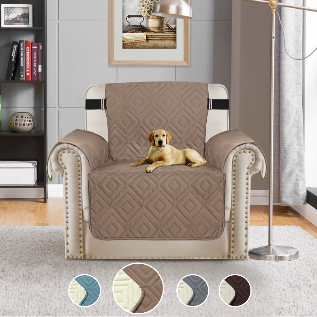 Quilted Microfiber Pet Furniture Protector Cover Reversible Chair Coverslip  Quilted Furniture Covers With Straps Stay In Place Furniture Slipcover ...