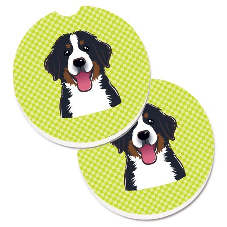 Checkerboard Lime Green Bernese Mountain Dog Set of 2 Cup Holder Car Coasters BB1299CARC - Cup Holder Coaster