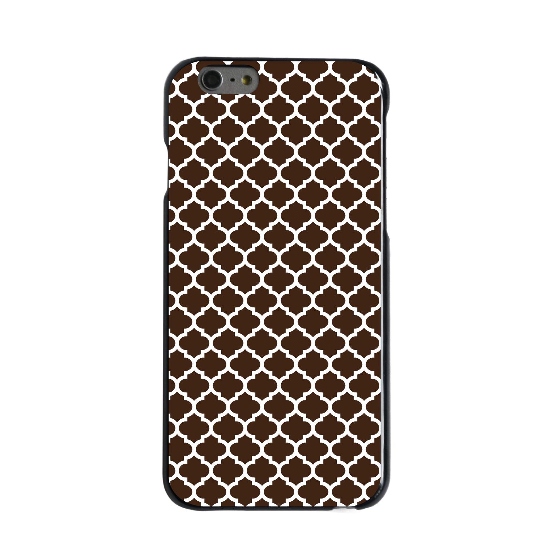"CUSTOM Black Hard Plastic Snap-On Case for Apple iPhone 6 PLUS / 6S PLUS (5.5"" Screen) - Brown White Moroccan Lattice"