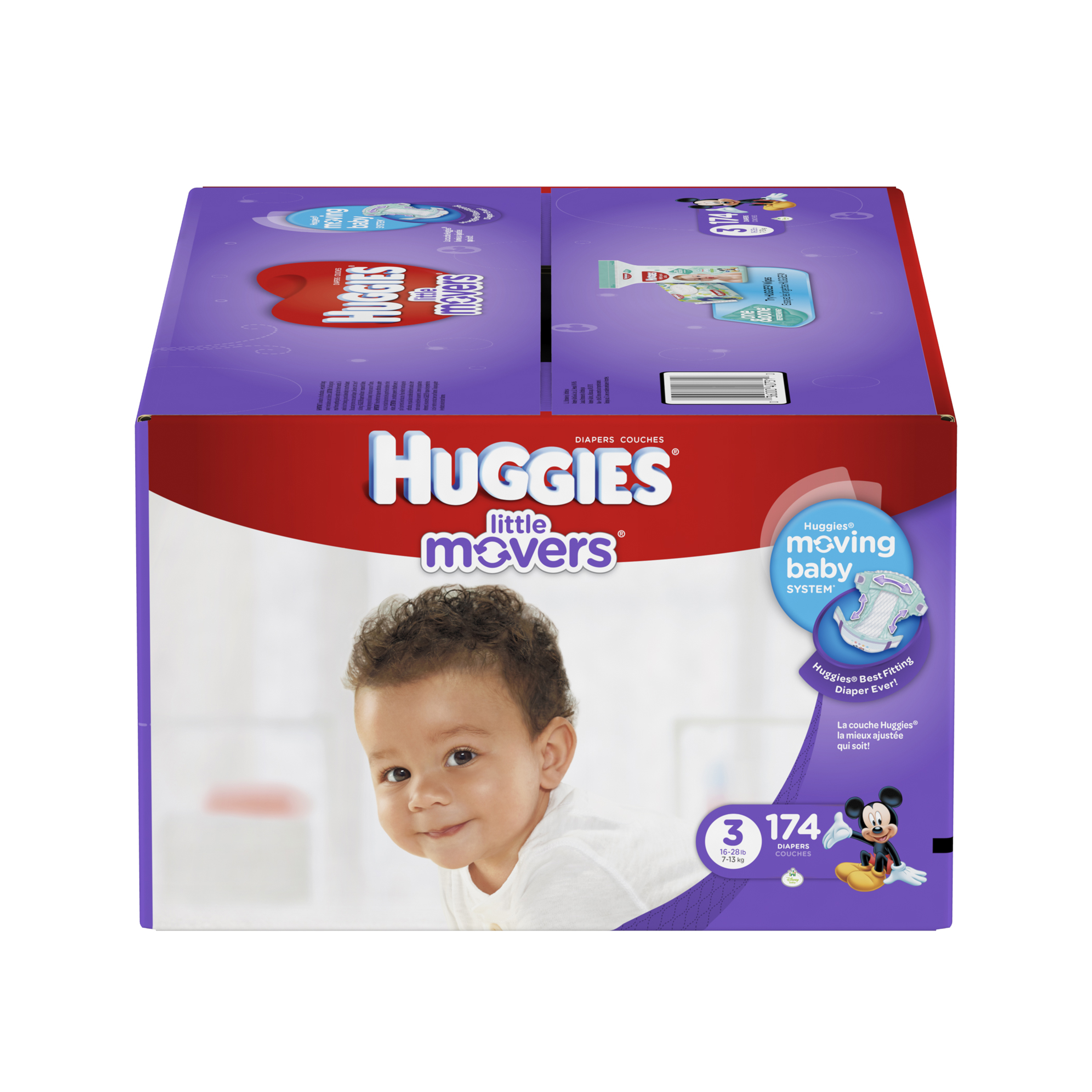 HUGGIES Little Movers Diapers, Size 3, (Choose Diaper Count)