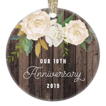 10 Year Wedding Anniversary Party Ideas (Our 10th Year Anniversary Ornament 2019, Tenth Year Married Christmas Gift, Wedding Anniversaries Marriage Couple Him Her 3