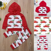 New 2PCS Newborn Toddler Baby Boy Girl Xmas Hooded Tops Pants Outfits Set Clothes