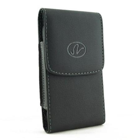 Black Vertical Leather Phone Case Compatible With LG Lucid 3, Logos, Leon, Lancet, K3, G3 Vigor G2, Escape 2, Access LTE - Microsoft Lumia 735 650 640 - Motorola Moto X 2 (2nd Gen) E LTE ()