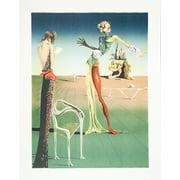 "SALVADOR DALI Femme a Tete de Roses (Woman with Head of Roses) 30.5"" x 22.5"" Lithograph Surrealism Multicolor, Green, Bl"