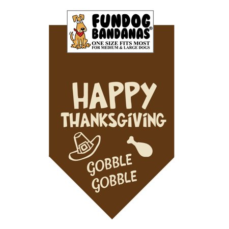 Fun Dog Bandana - Happy Thanksgiving - One Size Fits Most for Med to Lg Dogs, brown pet scarf - Halloween Dog Bandanas Wholesale