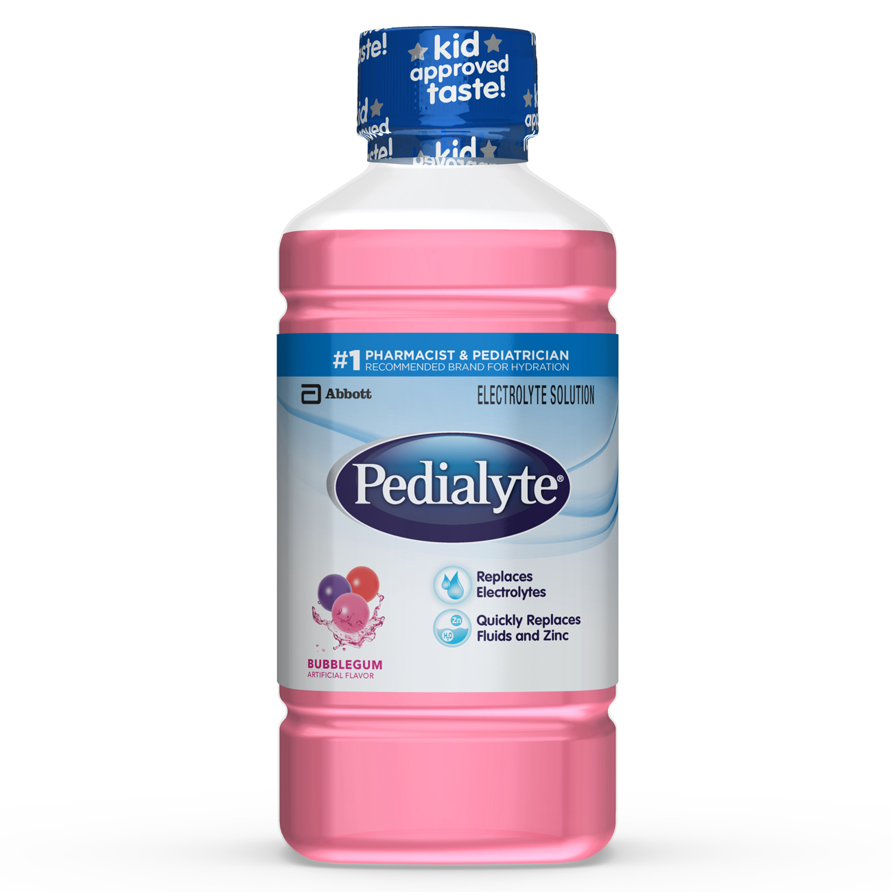 Pedialyte Electrolyte Solution, Electrolyte Drink, Bubble Gum, Liquid, 35 fl oz