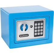 Digital Security Safe Box for Valuables- Compact Waterproof and Fireproof  Steel Lock Box with Electronic
