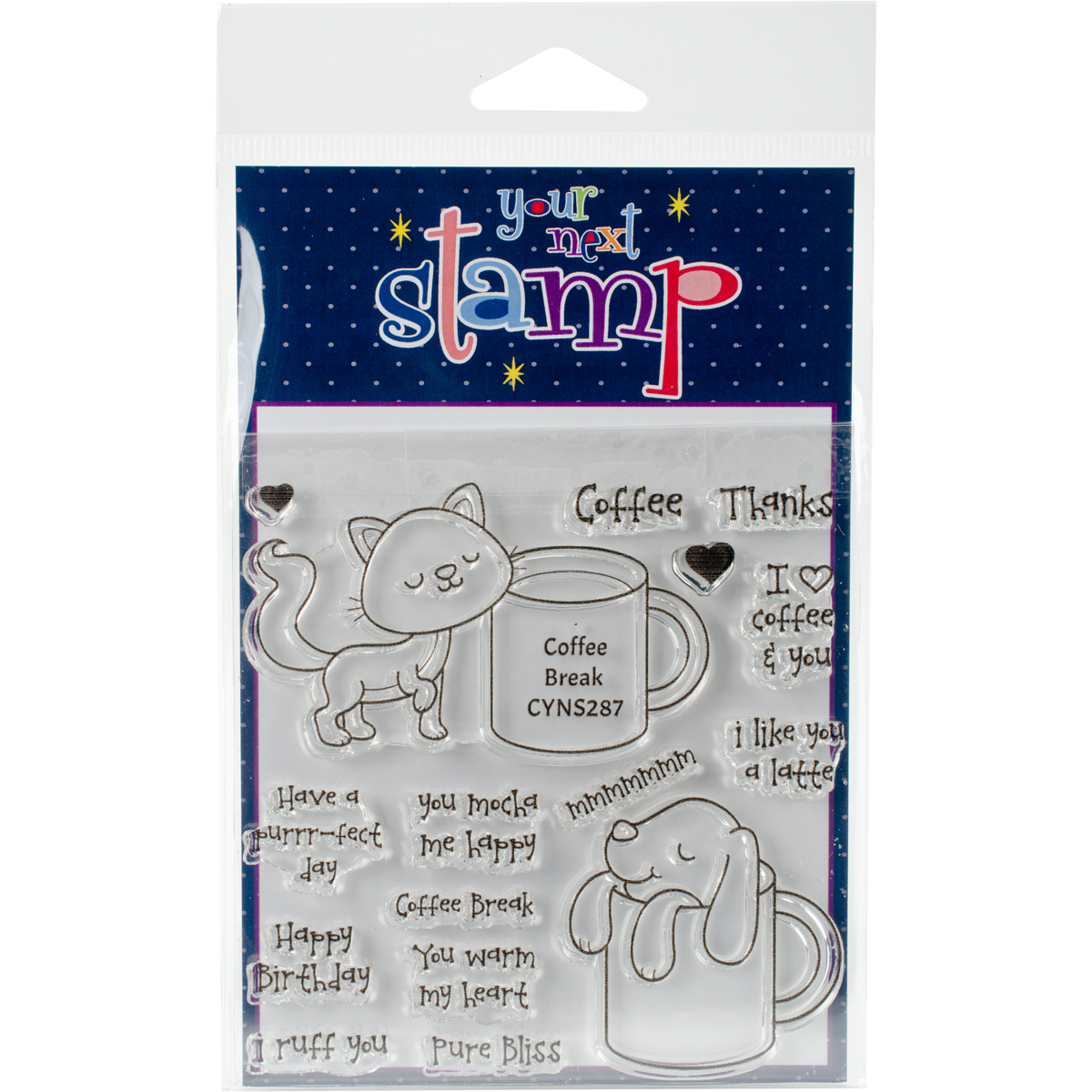 """Your Next Stamp Clear Stamps, 4"""" x 4"""", Coffee Break"""