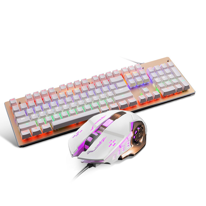Wired Gaming Keyboard and Mouse Combo with Rainbow Backlit for Computer,Waterproof Mechanical Keypad,Silver