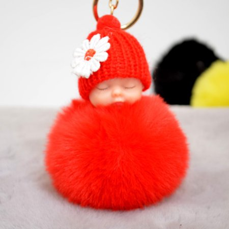 - Cute Small Flower Sleeping Baby Doll Fake Fur Fluffy Ball Keychain Bag Key Rings Car Key Pendant Cartoon Ornaments Gifts Color Red