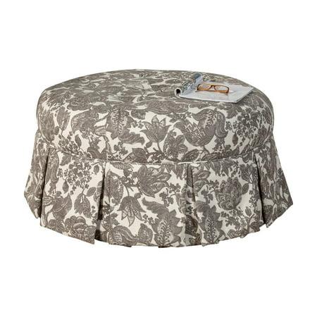 Leffler Home Ava Round Pleated Upholstered Ottoman ()