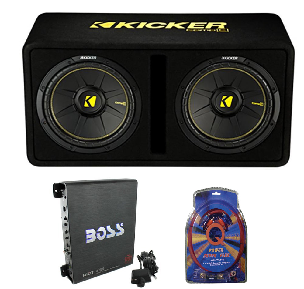 "Kicker 44DCWC122 12"" 1200W Car Audio Subwoofer Sub Enclosure+Mono Amplifier Kit"