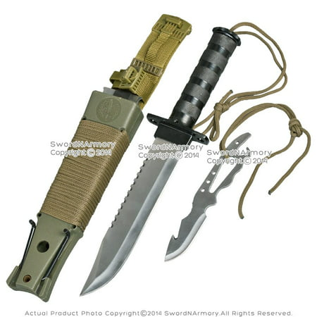 "14"" Fixed Blade Military Serrated Complete Survival Knife W/ Kit & Sheath"
