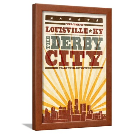 Skyline Framed (Louisville, Kentucky - Skyline and Sunburst Screenprint Style Framed Print Wall Art By Lantern Press)