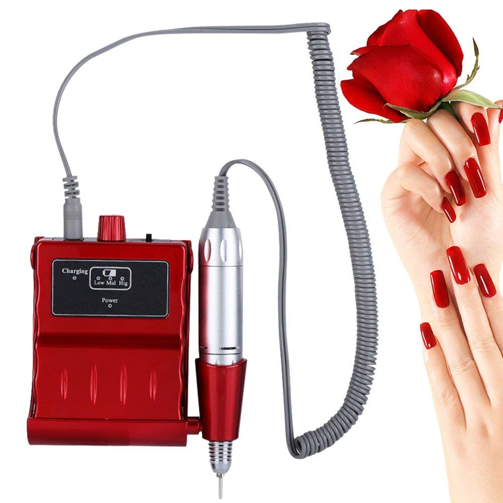 30000 RPM Nail File Drill Machine, Portable Rechargeable Grinding Polishing Buffer and Smooth Nails Device Tool Set