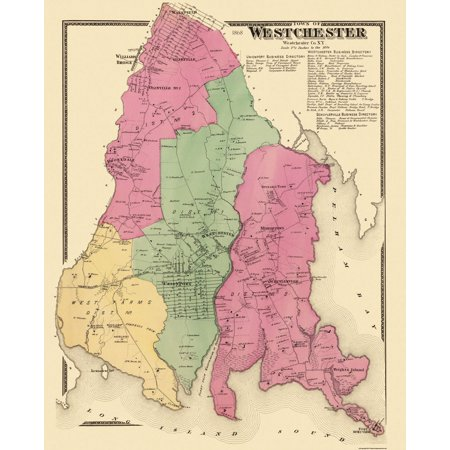 Old City Map - Westchester New York Landowner - 1868 - 23 x 28.56 - Party City Westchester