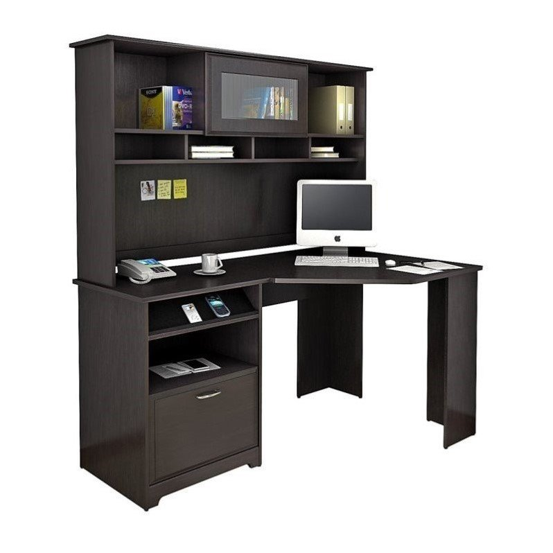 "Bush Cabot 60"" Corner Desk with Hutch in Espresso Oak"