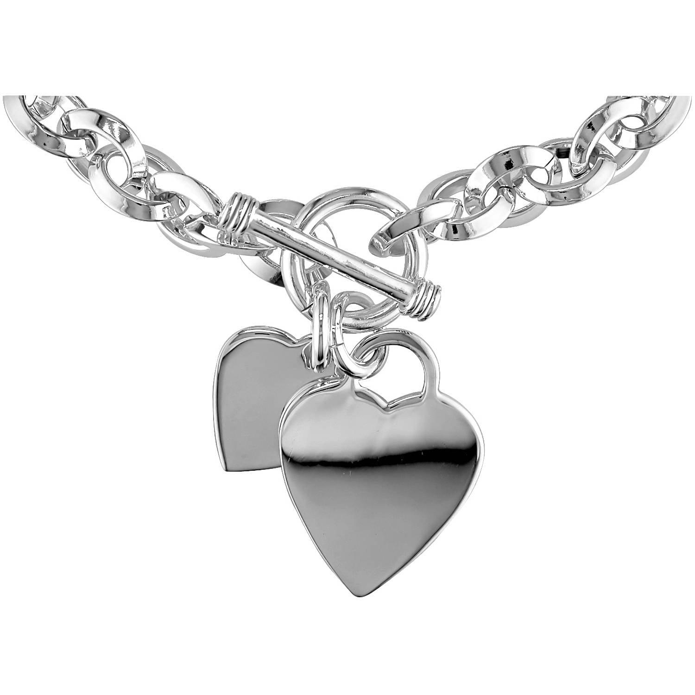 Miabella Sterling Silver Double Heart Charm Bracelet 7 5