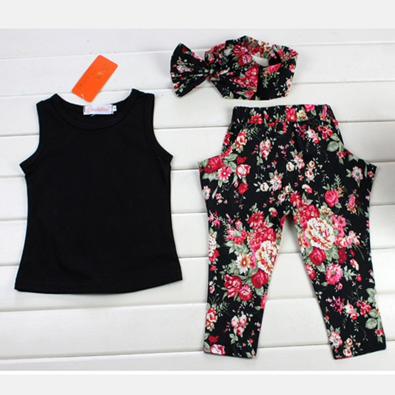 Kids Baby Girls Tank Tops Vest Floral Trousers Headband Outfits Set Summer 3pcs