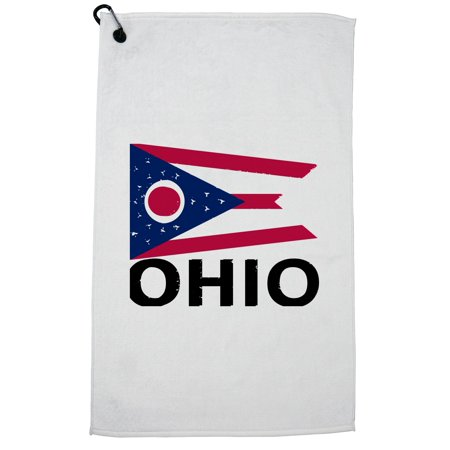 Arizona State Golf Towel - Ohio State Flag - Special Vintage Edition Golf Towel with Carabiner Clip